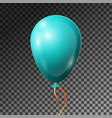 realistic turquoise balloon with ribbon isolated vector image vector image