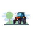 red tractor on landscape in flat design vector image vector image