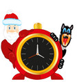 santa and dog beside new years festive hours vector image vector image