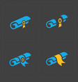 scrolls icons with ribbon on dark background vector image vector image