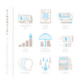 set of financial icons and concepts in mono thin vector image vector image