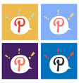 set of flat icon of pinterest on background with vector image vector image