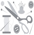 Sewing tools icons vector image