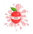 sliced red apple juice splashing colorful fresh vector image vector image
