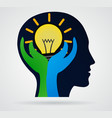 thinking head palm with rays of light from the vector image vector image