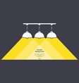 three lamps with light and text vector image vector image