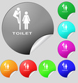 toilet icon sign Set of eight multi colored round vector image