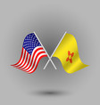 two crossed american and flag of new mexico vector image