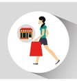 woman walking bag shopping store vector image vector image