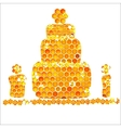 Holiday card with icons of honey birthday vector image