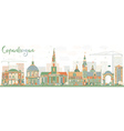 Abstract Copenhagen Skyline with Color Landmarks vector image vector image