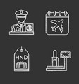 airport service chalk icons set vector image vector image
