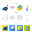 blue scoop for garbage pink soap with foam vector image