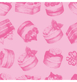 Cakes pink seamless pattern vector image vector image
