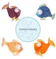 Cartoon characters funny fishes isolated on white vector image