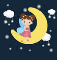 cartoon fairy sitting on the moon cartoon fairy vector image