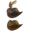 cartoon pirate hat with skull and feathers vector image vector image