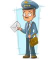 Cartoon postman in blue uniform with vector image