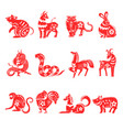 chinese horoscope twelve animals signs vector image