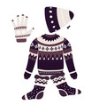 christmas patterns on knitwear winter clothes vector image