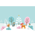 Christmas woodland landscape vector image vector image