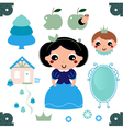 Cute beautiful snow white isolated on white vector image vector image
