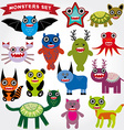 Cute cartoon Monsters Set Big collection on a vector image