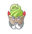devil lemon cupcake mascot cartoon vector image