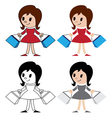 figurines of women with packets vector image vector image