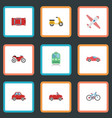 flat icons car metro transport and other vector image vector image