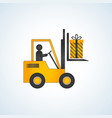 forklift truck with christmas gift box vector image vector image