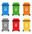 garbage cans trash separation recycling isolated vector image