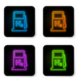 glowing neon hydrogen filling station icon vector image vector image