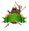 green banner with knight armor