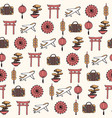 hand drawn travel to asia seamless pattern vector image vector image