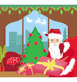 Happy New year card with Santa vector image vector image