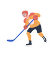 happy young teenager playing ice hockey game vector image vector image