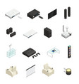 home theater isometric icons vector image