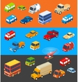 isometric flat cars isothermal set vehicles vector image vector image