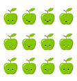 kawaii green apple cute emoticon face on a white vector image