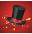Magic hat and wand with sparkles vector image vector image
