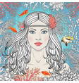 mermaid girl among corals and fishes vector image vector image