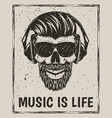 music is life grunge design with hipster vector image vector image