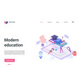 online education technology isometric landing page vector image