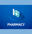 pharmacy isometric icon isolated on color vector image vector image