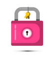pink lock icon with keys isolated on white vector image vector image