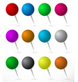 push pin thumbtack set with sphere heads several vector image