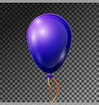 realistic blue-purple balloon with ribbon isolated vector image vector image