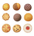 round cookies set top view pastry vector image