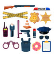 set flat police elements vector image
